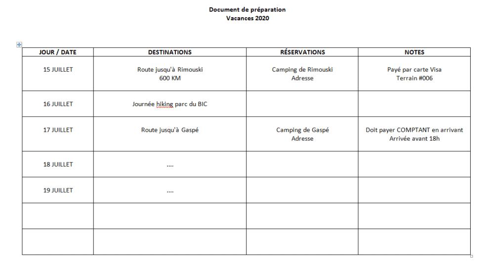 exemple document préparation vacances